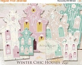 40% OFF SALE - Winter Chic Houses TAGS - Digital Collage Houses - Home Decors - Collage Houses - Shabby Chic Collage Houses - Nordic Style T