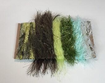 ice yarns samples fiber art bundle cards GREEN SHADES olive bright eyelash mint catepillar lurex jungle evelina  crochet knitting scrapbook