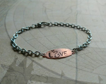 Love Michigan Bracelet. Silver. Copper. Stainless steel. Michigan jewelry. Hand stamped. Stacking bracelet. Layering jewelry. michigander