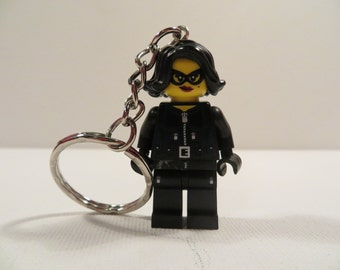 Lego minifigure jewel thief cat burglar woman keyring keychain