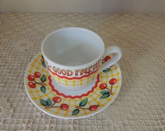 Funny Silly Cheery Cherry Coffee Cup and Saucer. Life Has No Blessing Like A Good Friend Cup and Saucer Set. Andrews McMeel Tea Cup Set