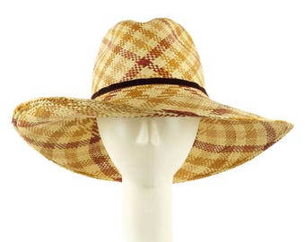 Plaid Cowboy Hat, Straw Hat, Wide Brim Hat, Sun Hat, Fedora Hat, Beach Hat, Straw Fedora Hat, Headwear, Western Style, Music Festival Hat