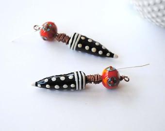 Funky Modern Spike Earrings, Polka Dot Earrings, Floral Earrings, Wire Wrapped Earrings, Unique Artisan Earrings, Black and White Earrings