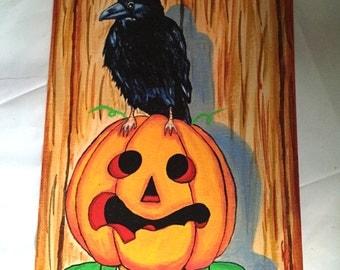 Halloween Crow Pumpkin Man Print