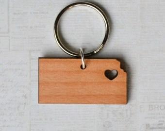 Topeka, Kansas Love Wood Key Ring