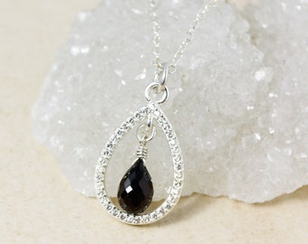 Silver Black Tourmaline Teardrop Necklace - Diamond Necklace - Gifts for Her