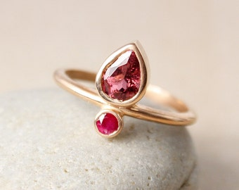 Pink Tourmaline & Birthstone Ring - Choose Your Birthstone - Personalized, Custom Ring