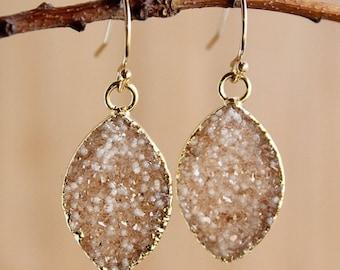 50 OFF SALE Marquise Brown Druzy Quartz Earrings - 14K Gf - Dangle Earrings