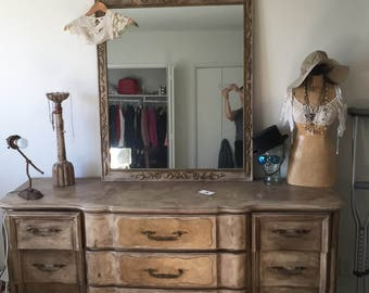 Vintage French Provencial Dresser and Mirror
