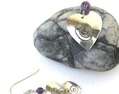 vintage ear wear   ...    asymmetrical sterling silver heart earrings with amethyst