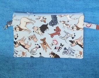 Gifts for dog lovers, Mini dog bag, wristlet dog print bag, zipper pouch, cell phone mini bag- dog walking fanny pack, running bag KBD701