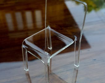 Modern miniature Clear ACRYLIC DESIGNER CHAIR Scale 1:12 for dollhouse
