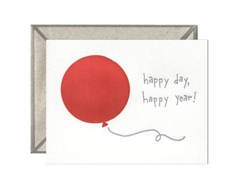 Happy Day, Happy Year letterpress card - single