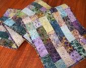 Custom Order for Nancy - Quilted Batik Table Runner in Purple Teal Aqua and Brown