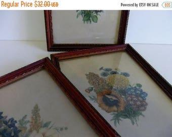 50% off Sale ON SALE Vintage Flower Prints Donald Art Co Inc Numbered Made in USA Floral wall hanging Framed Art