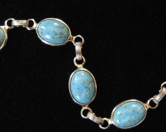 Turquoise Matrix Art Glass Link Bracelet, 1970's