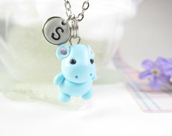 Hippo necklace, Initial necklace, personalized necklace, hippo jewelry, cute unique gift, hippopotamus necklace, cute hippo necklace blue