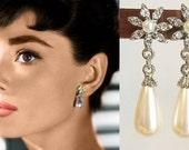 Audrey Hepburn Ivory Pearl Teardrop Silver Flower Rhinestone Crystal Earrings