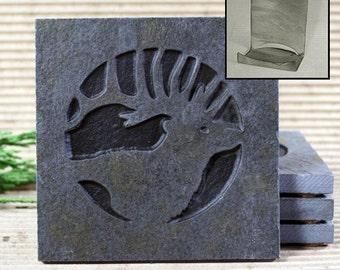 Etched Natural Stone Coaster Set with Holder - Elk Head on Copper Slate