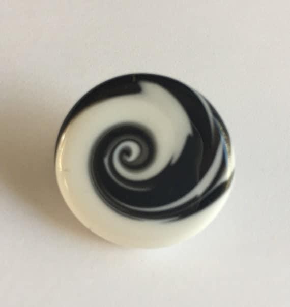 Lampwork Glass Button with Self Shank - White/Black  Swirls
