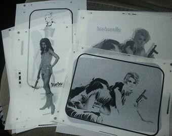 Vintage Jane Fonda Barbarella Paper Negative Prints Set Of Eight 8.5 By 11