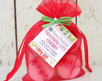 Traverse City Cherry Soy Tealights 4 Pack - Green Daffodil - Handpoured - Siouxsan and Anne