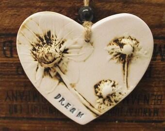 Ceramic Heart natural flower pottery gift for her Dream
