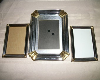 3 Vintage  Two tone metal picture  frames Silver Gold