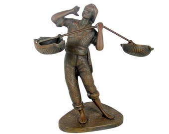 Antique MAN PEDDLER BRONZE Match Holder or Possibly Open Salt French Fisherman Statue Sculpture