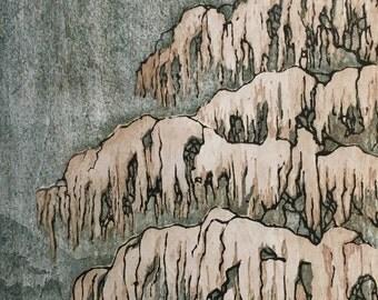 Woodblock Print Tree No. 16 hand-pulled block print landscape, moku haga fine art print