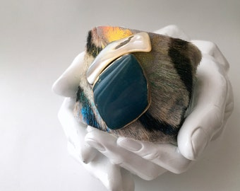 "leather cuff bracelet  - acid washed hair on hide with agate and mothe of pearl - 2"" wide"