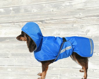 Hooded Dog Raincoat, Ripstop Nylon Outer, Custom made for your dog