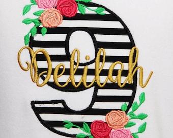 Girls Birthday Shirt, Custom Birthday Shirt, Black and Gold Birthday Shirt, Rose Birthday Shirt, Free Personalization, Any Age