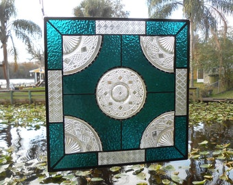 Big Top Peanut Butter Depression Glass Stained Glass Plate Panel, OOAK 1930s Recycled Vintage Window Valance, Stained Glass Transom Window
