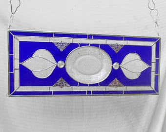 Crystal & Cobalt Tiara Sandwich Glass Plate Panel, Vintage Stained Glass Transom Window, Antique Stained Glass Window Valance, Recycled Art