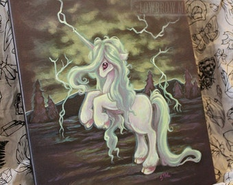 Unicorn Original Acrylic Lowbrow misfit art painting  - Storm