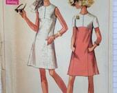 Vintage 60s Mod Dress Pattern 2 Tone 38 bust 1960s Simplicity 8083