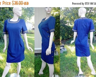 35% OFF 80s Dress/ Vintage Dress/ Nautical Dress/ Sailor Dress/ Navy Dress with Gold Star Detail and Button Side Closure by Miss Darby Size