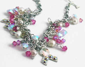 Pink Crystal Breast Awareness Charm Bracelet