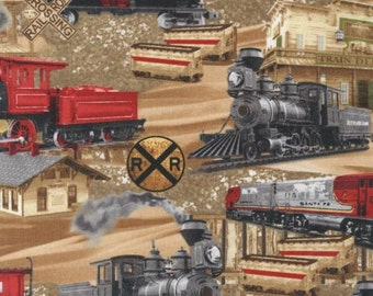 Timeless Treasures - Planes, Trains & Automobiles - Trains - Brown - Fabric by the Yard C5124-BRN