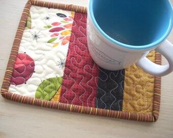 fall leaves mug rug - FREE SHIPPING