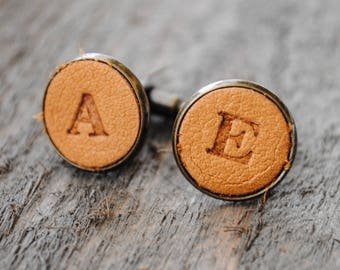 Leather Monogrammed Cuff Links - Tan Leather - Groomsmen, Groom Gift, Father's Day Gift, Graduation Gift
