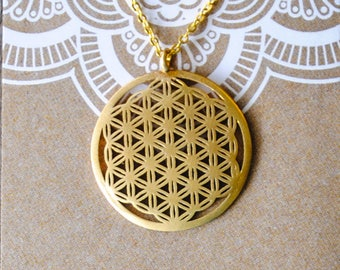 Flower of Life Pendant Necklace - Gold Plated Chain