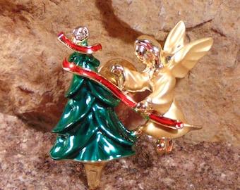 BOOK PIECE Christmas Angel and Tree Rhinestone Vintage Gigi Giusti © Signed Tie Tac Pin