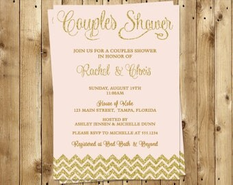 Couples Shower Invitations, Pink, Gold, Glitter, Wedding, Chevron Stripes, Set of 10 Printed Cards, FREE Ship, PGGCP, Pink Glitter and Gold