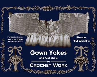 Anne Orr #6 c.1915 Vintage Crochet Lace Patterns for Ladies Yokes (PDF - EBook - Digital Download)