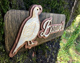 Laser Cut Quail Name Sign