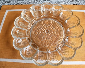 Vintage Crystal Egg Platter // Indiana Glass // Hobnail Indiana Glass