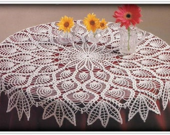 Crochet Pineapple Tablecloth Pattern - Pineapples and Peacock Feathers - 35 Inches Diameter - PDF 18060871 - Pattern In English