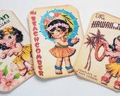 Hawaiian Tags - Retro Hula Girls - Variety Set 9 - Kitschy Hula Tags - 1950's Hula Tags - Hula Dancers - Tropical Gift Tags - Vacation Tags